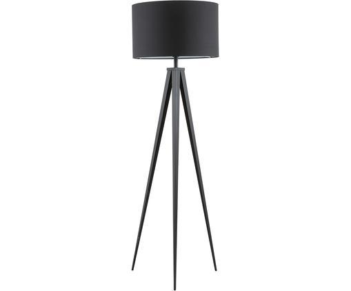 Lampada da terra Jake, Paralume: cotone, Base della lampada: metallo verniciato a polv, Paralume: nero Base lampada: nero opaco, Ø 50 x Alt. 154 cm
