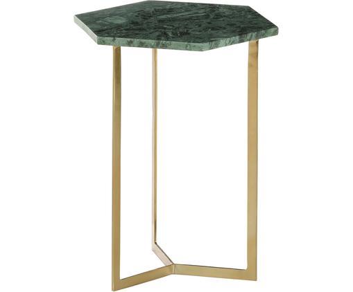 Tavolino con piano in marmo Vince, Struttura: metallo rivestito, Piano d'appoggio: marmo verde Struttura: dorato, lucido, Larg. 40 x Alt. 50 cm