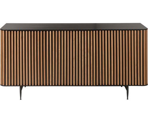 Design dressoir Linea met eikenhoutfineer, Frame: MDF (medium-density fibre, Poten: gelakt metaal, Zwart, eikenhout, 159 x 74 cm