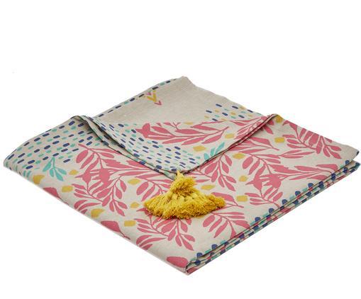 Obrus Fleuri, Bawełna, Beżowy, blady różowy, żółty, niebieski, zielony, Dla 2-4 osób (S 145 x D 145 cm)