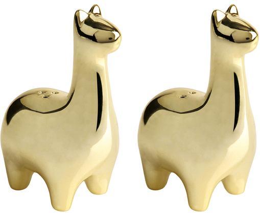 Salz- und Pfefferstreuer Lamas in Gold, 2er-Set, Keramik, Messingfarben, 5 x 9 cm