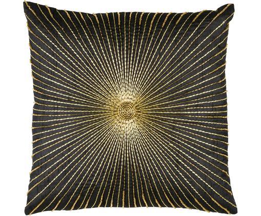 Poszewka na poduszkę z haftem Sunray, Poliester, Czarny, odcienie złotego, S 40 x D 40 cm