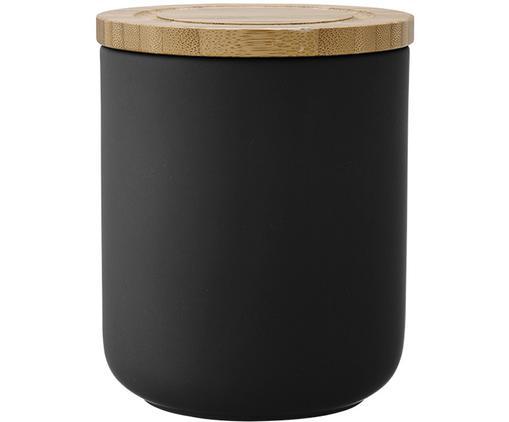 Contenitore Stak, Contenitore: ceramica, Coperchio: legno di bambù, Nero, legno di bambù, Ø 10 x Alt. 13 cm