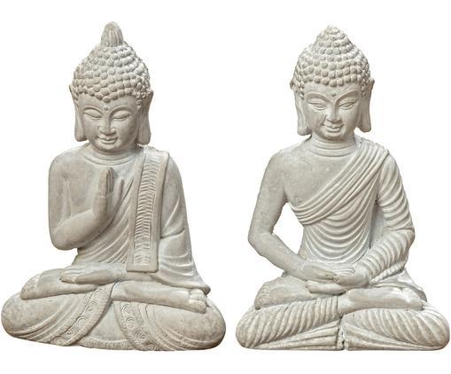 Set de figuras decorativas Buddha, 2pzas., Cemento, Gris claro, An 9 x Al 14 cm
