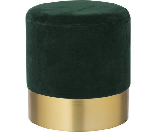 Samt-Hocker Harlow, Bezug: Baumwollsamt, Fuß: Metall, pulverbeschichtet, Dunkelgrün, Goldfarben, Ø 38 x H 42 cm