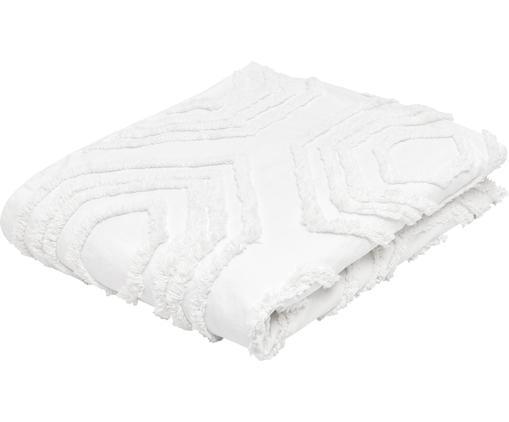 Copriletto in cotone con modello trapuntato Faye, 100% cotone, Bianco, Larg. 160 x Lung. 200 cm