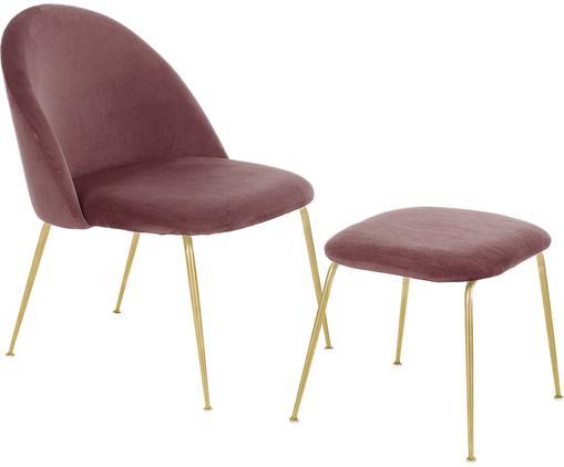 Samt-Lounge-Set Villum, 2-tlg., Bezug: Samt (Polyester) 25.000 S, Füße: Metall, gebürstet, Bezug: Samt (Polyester) 25.000 S, Füße: Metall, gebürstet, Samt Rosa, Sondergrößen
