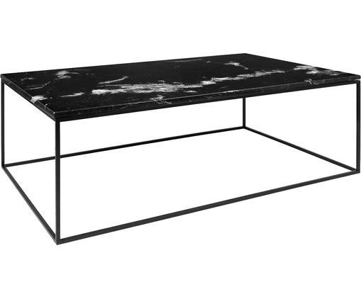 Stolik kawowy z marmuru Gleam, Blat: marmur, Stelaż: stal lakierowana, Blat: czarny, marmurowy Stelaż: czarny, S 120 x W 40 cm