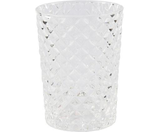 Vaso cepillo de dientes Diamante, Vidrio, Transparente, Ø 7 x Al 10 cm