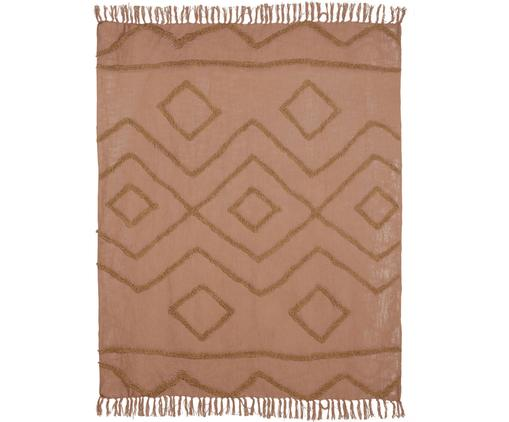 Plaid Fringe mit getufteter Verzierung, 100% Baumwolle, Braun, 130 x 170 cm