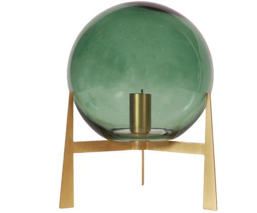 Lampe à poser en verre Milla, Vert, couleur laitonnée, noir
