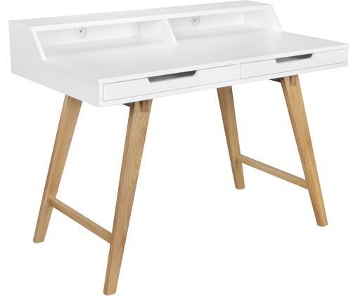 Scrittoio con gambe in legno e cassetti Skandi, Gambe: legno di quercia massicci, Bianco, legno di quercia, Larg. 110 x Alt. 85 cm