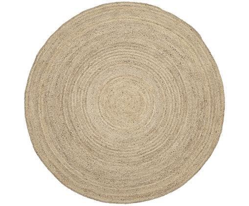 Runder Jute-Teppich Sharmila, handgefertigt, 100% Jute, Beige, Ø 200 cm (Größe L)
