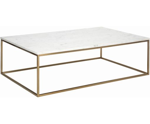 Marmor-Couchtisch Alys, Tischplatte: Marmor, Gestell: Metall, beschichtet, Weißer Marmor, Goldfarben, B 120 x T 75 cm