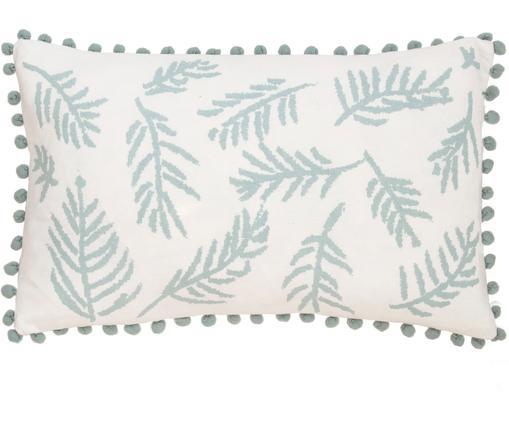 Kissenhülle Jungle mit Blätter-Motiv und Pompoms, Baumwolle, Weiß, Blau, 30 x 50 cm