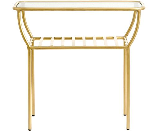Beistelltisch Maeve mit Glasplatte, Tischplatte: Glas, Gestell: Metall, lackiert, Messingfarben, 50 x 45 cm