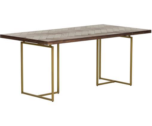 Tavolo con finitura in acacia Class, Piano d'appoggio: pannelli di fibra a media, Gambe: metallo, verniciato a pol, Marrone, Larg. 180 x Prof. 90 cm