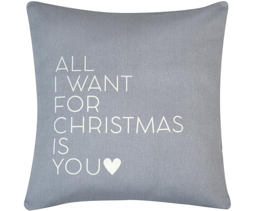 Kissenhülle All I Want mit Schriftzug in Grau/Weiß, 100% Baumwolle, Panamabindung, Grau,Ecru, 50 x 50 cm