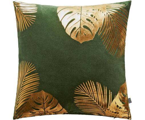 Samt-Kissenhülle Tropicana mit gold glänzendem Blattmuster, Baumwollsamt, Grün, Goldfarben, 45 x 45 cm