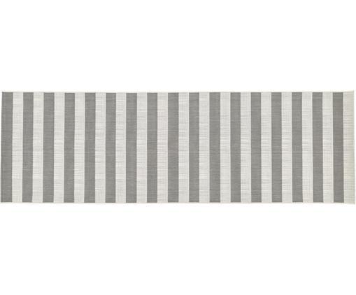 Gestreifter In- & Outdoorläufer Axa, Flor: Polypropylen, Cremeweiß, Grau, 80 x 250 cm
