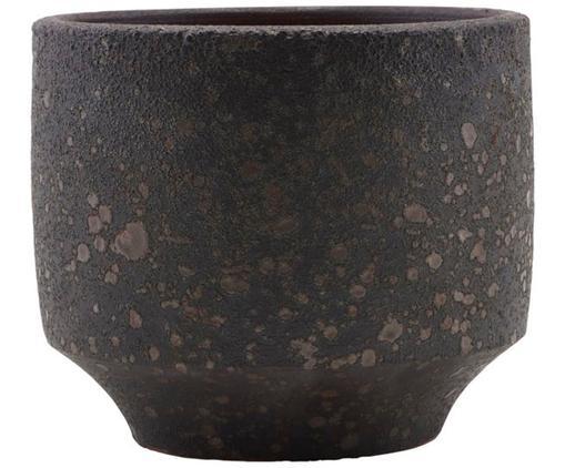 Handgefertigter Übertopf Earth, Steingut, Dunkelbraun, Ø 15 x H 13 cm