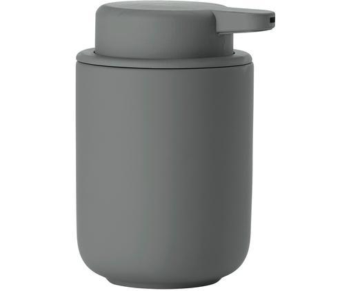 Dozownik do mydła z kamionki Omega, Szary, matowy, Ø 8 x W 13 cm