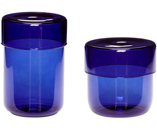 Aufbewahrungsdosen-Set Transisto, 2-tlg., Glas, Blau, Dosen-Set S