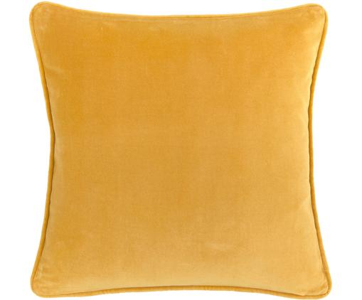 Federa arredo in velluto in giallo ocra Dana, Velluto di cotone, Ocra, Larg. 40 x Lung. 40 cm