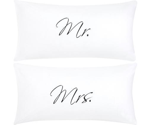 Perkal-Kissenbezüge Mr&Mrs mit Schriftzug, 2er-Set, Webart: Perkal, Weiß, Schwarz, 40 x 80 cm