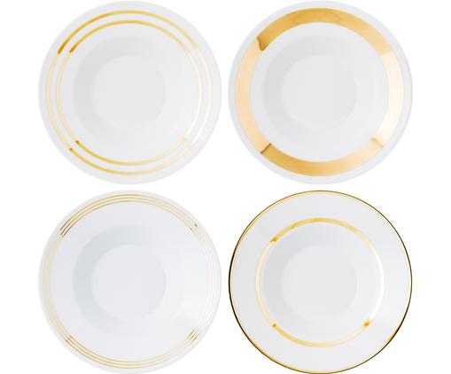 Suppenteller-Set Deco, 4-tlg., Porzellan, Weiß, Goldfarben, Ø 24 x H 10 cm