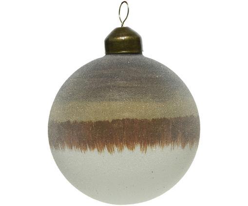 Weihnachtskugeln Organic, 2 Stück, Beige, Braun, Weiß, Ø 8 cm