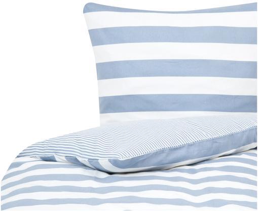 Flanell-Wendebettwäsche Dora, gestreift, Webart: Flanell Flanell ist ein s, Weiß, Hellblau, 135 x 200 cm + 1 Kissen 80 x 80 cm