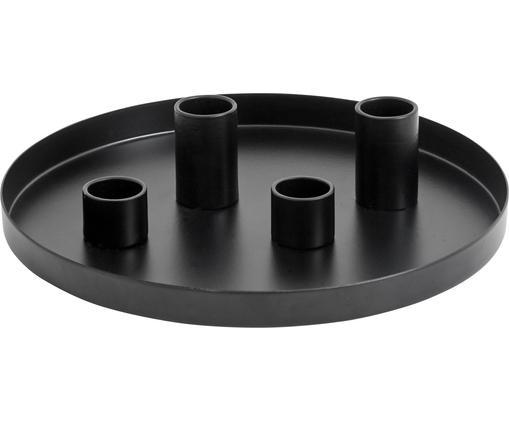 Świecznik Cups, Metal malowany proszkowo, Czarny, Ø 20 x W 5 cm
