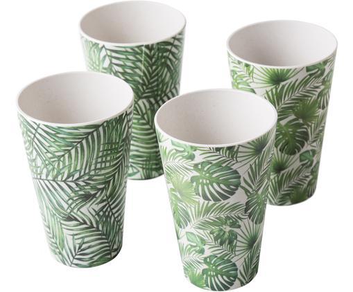 Komplet kubków z drewna bambusowego Tropical, 4 elem., 55%włókna bambusowe, 25%skrobia kukurydziana, 15%melamina, Odcienie zielonego, biały, Ø 9 x W 13 cm