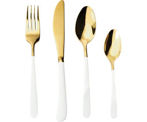 Set 4 posate dorate in acciaio inossidabile con manici bianchi Empire, Acciaio inossidabile, materiale sintetico, Bianco, dorato, Diverse dimensioni