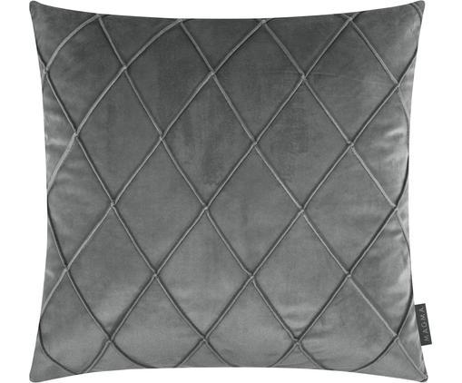 Samt-Kissenhülle Nobless mit erhabenem Rautenmuster, Polyestersamt, Grau, 50 x 50 cm