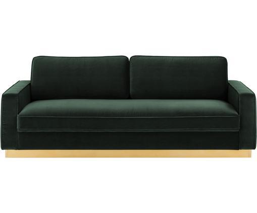 Samt-Sofa Chelsea (3-Sitzer), Bezug: Samt (Hochwertiger Polyes, Gestell: Massives Fichtenholz, Rahmen: Metall, beschichtet, Samt Dunkelgrün, B 228 x T 100 cm