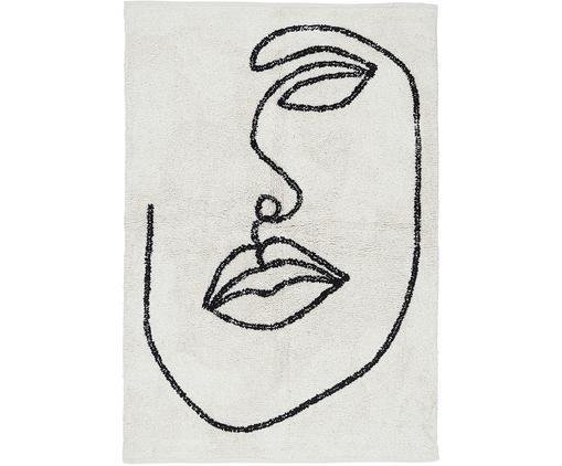 Dywan z bawełny Visage, Bawełna, Złamana biel, czarny, S 90 x D 120 cm (Rozmiar XS)