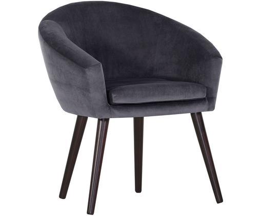 Fluwelen armstoel Lino in grijs, Bekleding: polyester (fluweel), Poten: gelakt hout, Donkergrijs, B 75  x D 66 cm