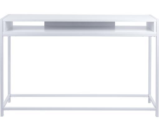 Consolle con ripiano Fushion, Struttura: metallo verniciato a polv, Ripiano: pannello di fibra a media, Bianco, Larg. 122 x Prof. 30 cm