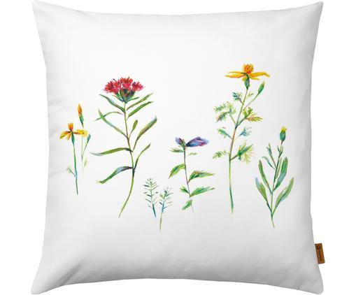 Poszewka na poduszkę Wildblumen, Poliester, Biały, wielobarwny, S 40 x D 40 cm