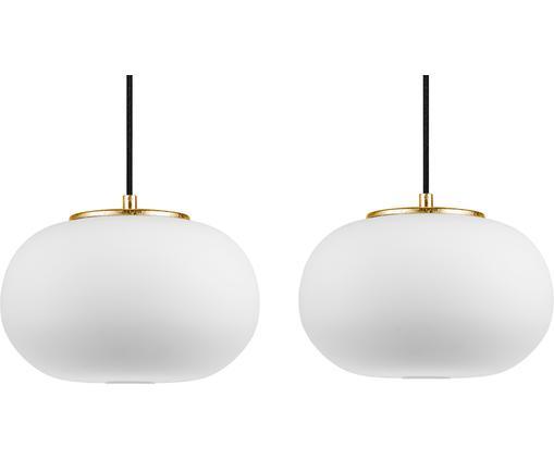 Suspension verre opalescent Dosei Double, Blanc, noir, couleur dorée