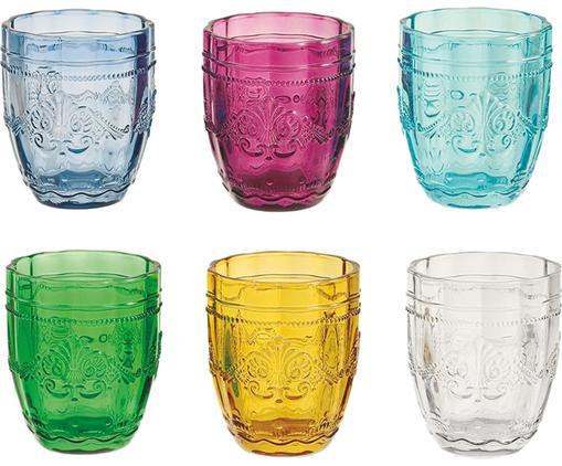 Set 6 bicchieri acqua con motivo a rilievo Syrah, Vetro, Multicolore, Ø 8 x Alt. 10 cm