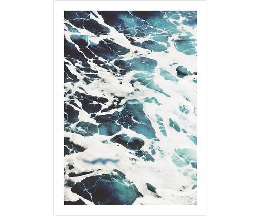 Poster Ocean, Digitaldruck auf Papier, matt  (180 g/m²), Weiß, Blautöne, 21 x 30 cm