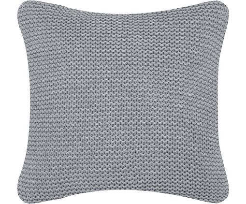 Housse de coussin en tricot gris clair Adalyn, Gris clair