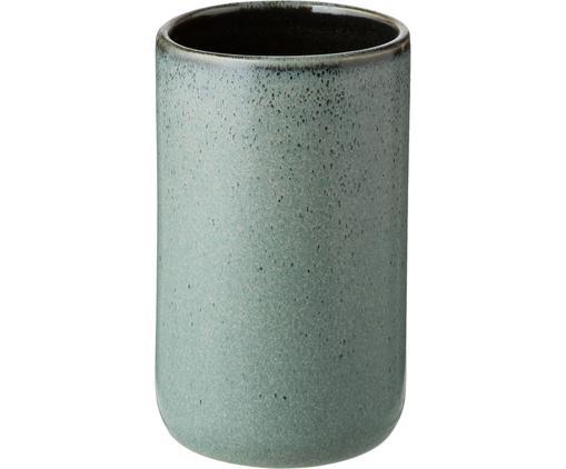 Kubek na szczoteczki Mila, Ceramika szkliwiona, Szarozielony, Ø 7 x W 12 cm