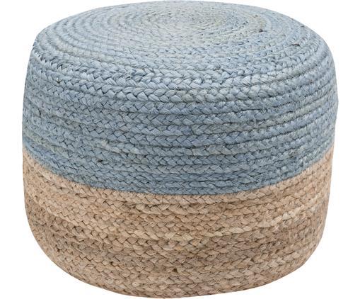 Ręcznie wykonany puf  z juty Bono, Tapicerka: juta, Beżowy, szaroniebieski, Ø 50 x W 36 cm