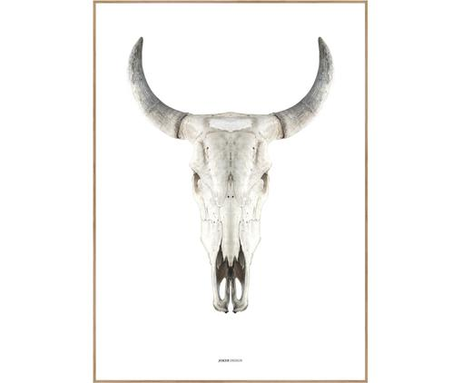 Gerahmter Digitaldruck Cow Skull, Bild: Digitaldruck auf Papier (, Rahmen: Hochdichte Holzfaserplatt, Braun, Beige, Weiß, 50 x 70 cm