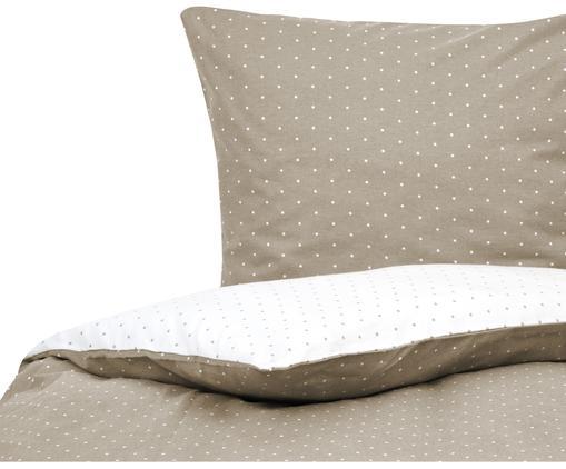 Flanell-Wendebettwäsche Betty, gepunktet, Baumwolle, Flanell, Beige, Weiß, 135 x 200 cm