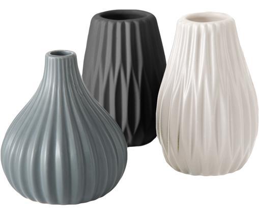 Komplet małych wazonów z kamionki Wilma, 3 elem., Kamionka, Niebieski, czarny, biały, Ø 9 x W 11 cm